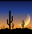 desert landscape sunset with mountain range and vector image vector image