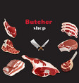 design template for meat marketbutcher shop vector image vector image