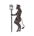 devil demon religion trident pattern silhouette vector image