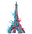 eiffel tower with abstract splashes in watercolor vector image vector image