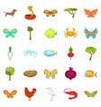flower insects icons set cartoon style vector image vector image