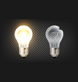 glowing and broken incandescent light bulb vector image vector image
