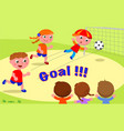 goal friends playing soccer at the park vector image vector image