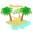 hammock between two palm trees vector image vector image
