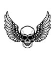 Hand drawn human skull with wings design element