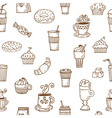 Hand drawn seamless pattern with coffee cups vector image vector image
