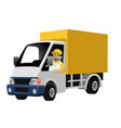 happy worker driving delivery truck box vector image