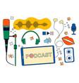 headphones microphone equalizer speech bubbles vector image