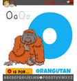 letter o worksheet with cartoon orangutan animal vector image vector image