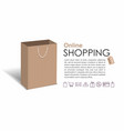 online shopping with ccraft shopping bag vector image vector image