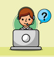 operator with headset working laptop customer vector image vector image