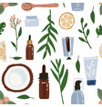 organic cosmetic seamless pattern with bottles vector image vector image