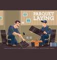 parquet laminate flooring installer banner vector image