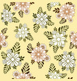pattern with brown and green branches and flowers vector image