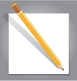 Pencil with white note paper on gray background vector image vector image