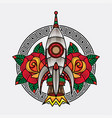 rocket traditional tattoo vector image vector image