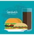 sandwich soda drink lunch snack icon vector image