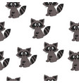 seamless pattern with animal gray raccoon vector image vector image