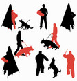 set of dog sport silhouettes dog on leash during vector image vector image