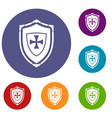 shield with cross icons set vector image vector image