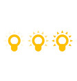 shining light bulb icons vector image