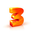 shiny orange red 3d number 3 on white background vector image