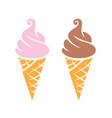 simple fun soft serve icecreams in waffle cones vector image