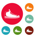 sneakers icons circle set vector image vector image