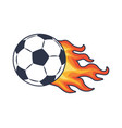 soccer ball and fire trace vector image vector image