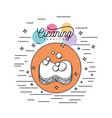 sponge with soap bubbles cleaning service vector image