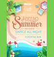 summer beach party poster top view vector image vector image