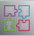 the puzzle infographics square four steps puzzle vector image