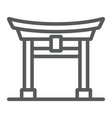 torii gate line icon japan and architecture vector image vector image