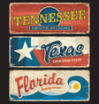 usa states tennessee texas florida plates signs vector image vector image