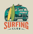 vintage surfing colorful template vector image