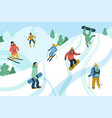 with young people at mountain resort skiing vector image