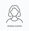 woman avatar flat line icon outline vector image