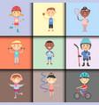 young kids sportsmens future roller skates vector image vector image