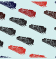 seamless background with old steam locomotives vector image