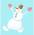 Dancing snowman with a bucket on his head on a vector image