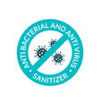antibacterial covid19 sign icon hand sanitizer gel vector image vector image