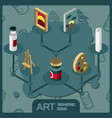 art isometric concept icons vector image vector image