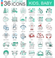 bakids flat line outline icons for apps vector image