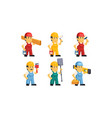 builder workers in overalls with different tools vector image