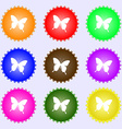 butterfly icon sign A set of nine different vector image