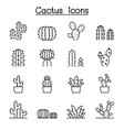 cactus and succulent plant icon set in thin line vector image