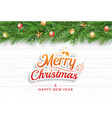 christmas greeting card with fir branch on white vector image vector image