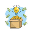 coins inside box with bulb idea and bills vector image vector image