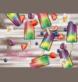 colorful ice creams on wooden background vector image