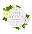cotton flower round composition vector image